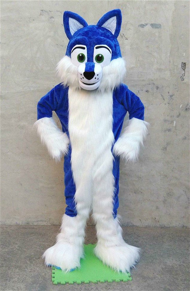 Fiesta de Navidad de Halloween ropa de piel larga azul Husky Fursuit mascota peluda traje de cumpleaños fiesta de lujo desfile traje con diseño de animal traje adulto