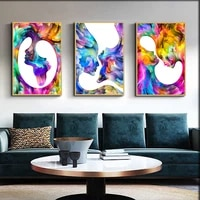 new modern nordic hand drawn colorful abstract watercolor creative characters poster canvas painting wall art home decoration