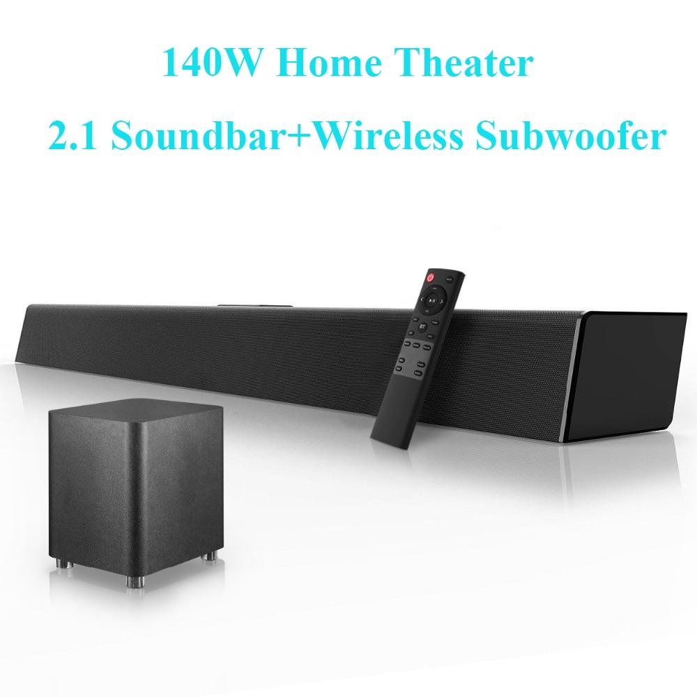 140 واط المسرح المنزلي نظام الصوت 2.1 ساوند بار تلفزيون سمّاعات بلوتوث دعم بصري AUX محوري الصوت بار مضخم صوت لاسلكي للتلفزيون