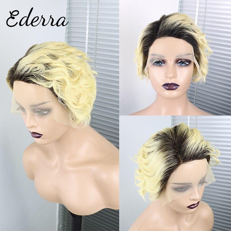 Короткий парик Фея бразильский прозрачный 13X1 кружевные человеческие волосы парики предварительно выщипанные недорогие волнистые парики д...