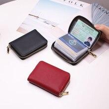 Women/men Business Card Holder Wallet Case Red/black/gray/yellow/blue/purple Credit Card Holder Case 26 Bits Zipper Card Wallet