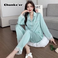 2021 new spring and autumn long sleeve thin lace sweet ice two piece home clothes