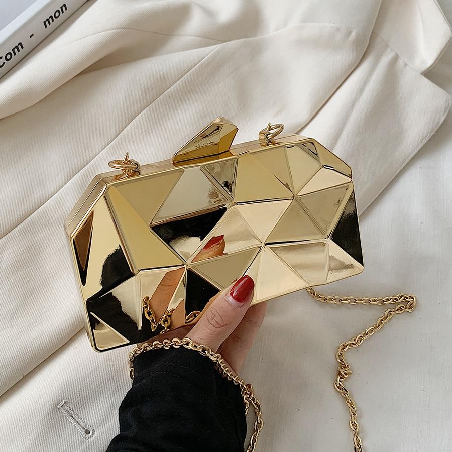 Womens Handbag Bags for Women 2021 Clutches Fashion Geometric Mini Party Evening Purse Crossbody Shoulder Bag Gold Box Clutch