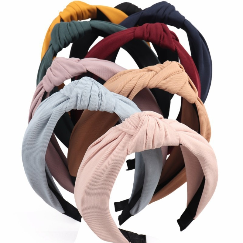 Elegant Party Solid Soft Knotted Headband Hairband For Women Lady Bow Hair Hoop Hair Accessories Hea