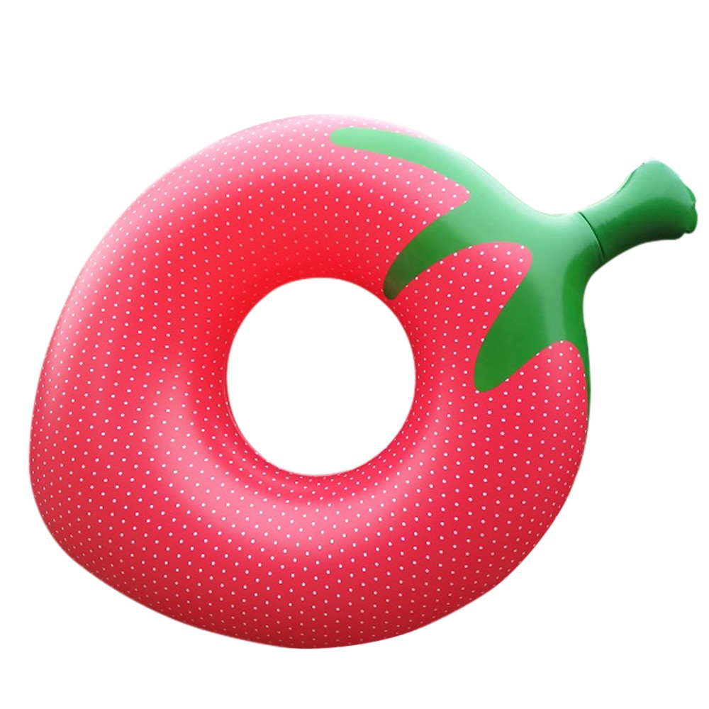 140x100cm Inflatable Strawberry Swimming Ring Adult Female Pool Float Toy Summer Pvc Lifebuoy