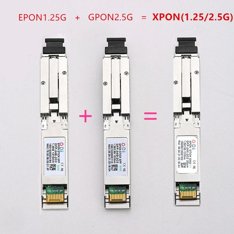 E/GXPON SFP ONU عصا مع ماك SC موصل DDM pon وحدة 1490/1330nm 1.25/2.5G XPON/EPON/GPON (1.244 Gbps/2.55G) 802.3ah E/GXPON