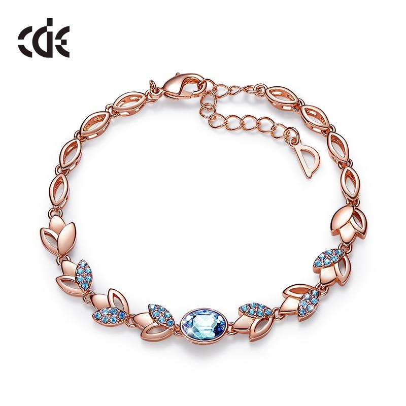 CDE Rose Gold Bracelets with Aquamarine Crystal from Swarovski Bracelets for Women Fashion Jewelry Elegant Charm Bracelets