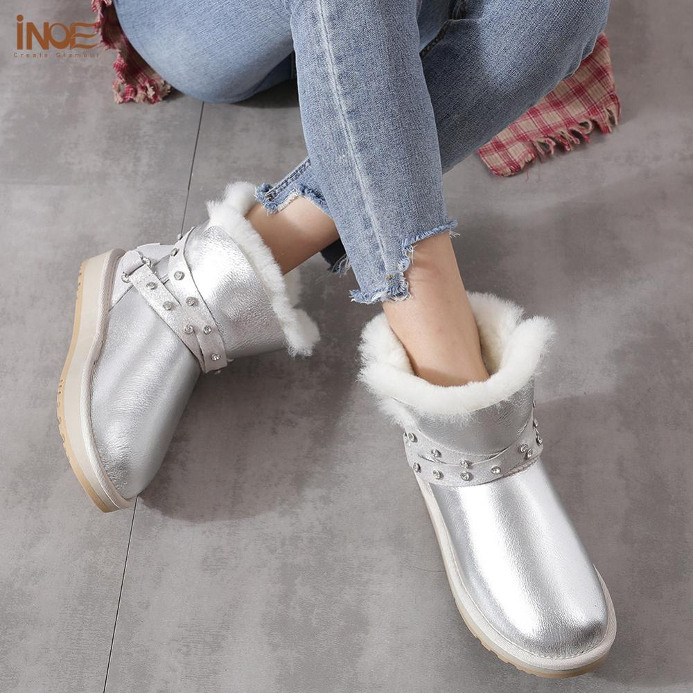INOE الحقيقي جلد الغنم الجلد المدبوغ الفراء الطبيعي اصطف موضة النساء أحذية الكاحل الشتاء الثلوج قصيرة أحذية دافئة جودة عالية