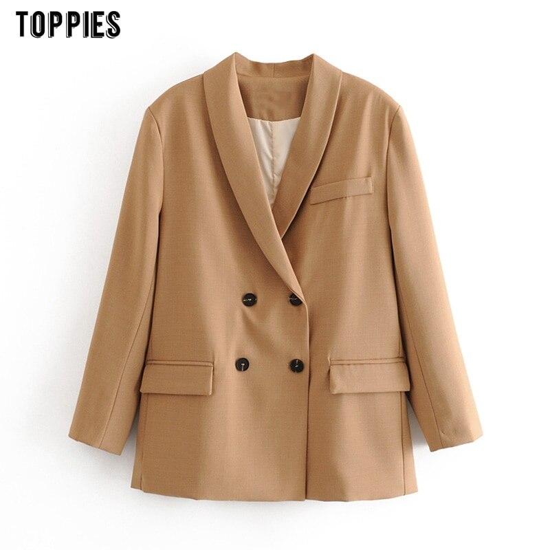 Toppies 2021 الربيع امرأة بليزرز سترة مزدوجة الصدر الوردي سترة عالية الخصر تنورة مكتب سيدة سترة رسمية