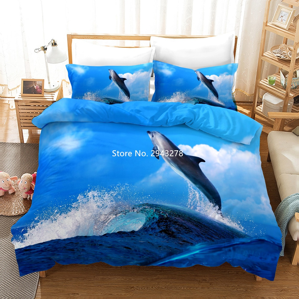 Cute Dolphin Bedding Quilt Set Marine Life 3D Bedding Printed Home Textile Quilt Cover and Pillowcase Quilt Bedding Full Size