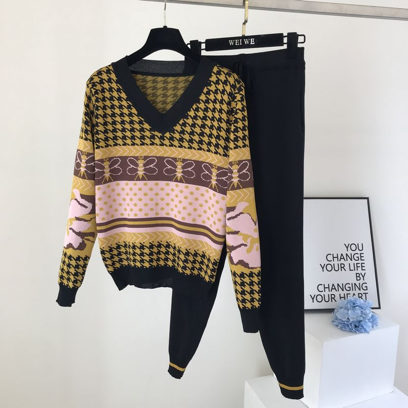 Vintage Printted Long Sleeve Knitted 2 Piece Tracksuit Women Fashion Jacquard Loose Pullover + Strip