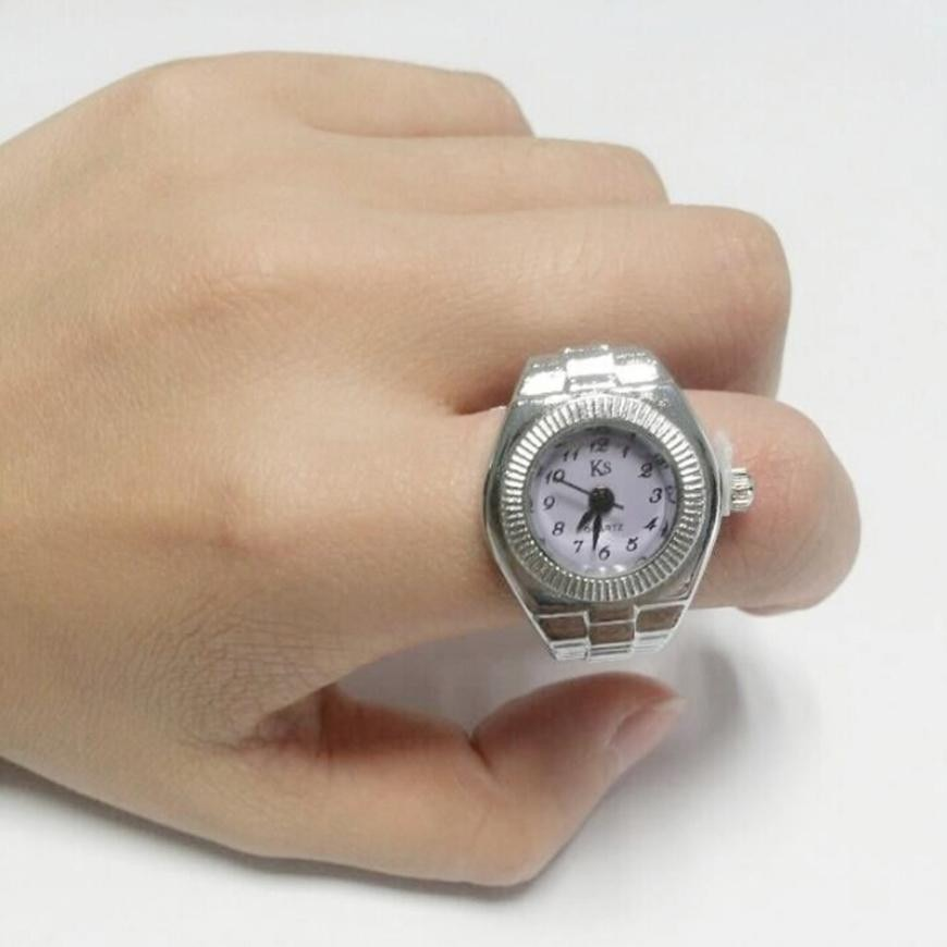 Reloj con anillo de cuarzo elástico, reloj de cuarzo, reloj analógico, acero creativo, fresco