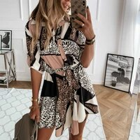 fashion autumn women leopard printed shirts dress tie waist roll up sleeve buttons turn down collar pleated dress