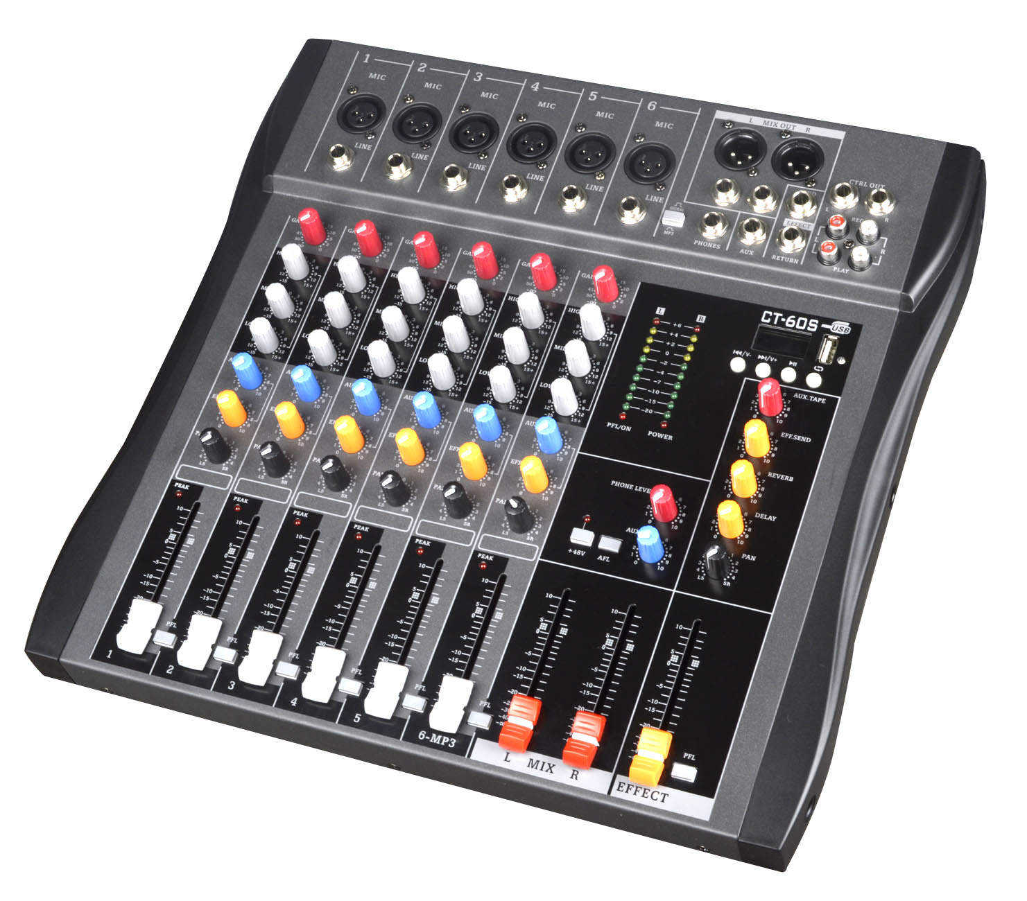 Professional bluetooth mixer with reverb effect home stage performance conference 4-way, 7-way, 6-way, 8-way tuning table enlarge