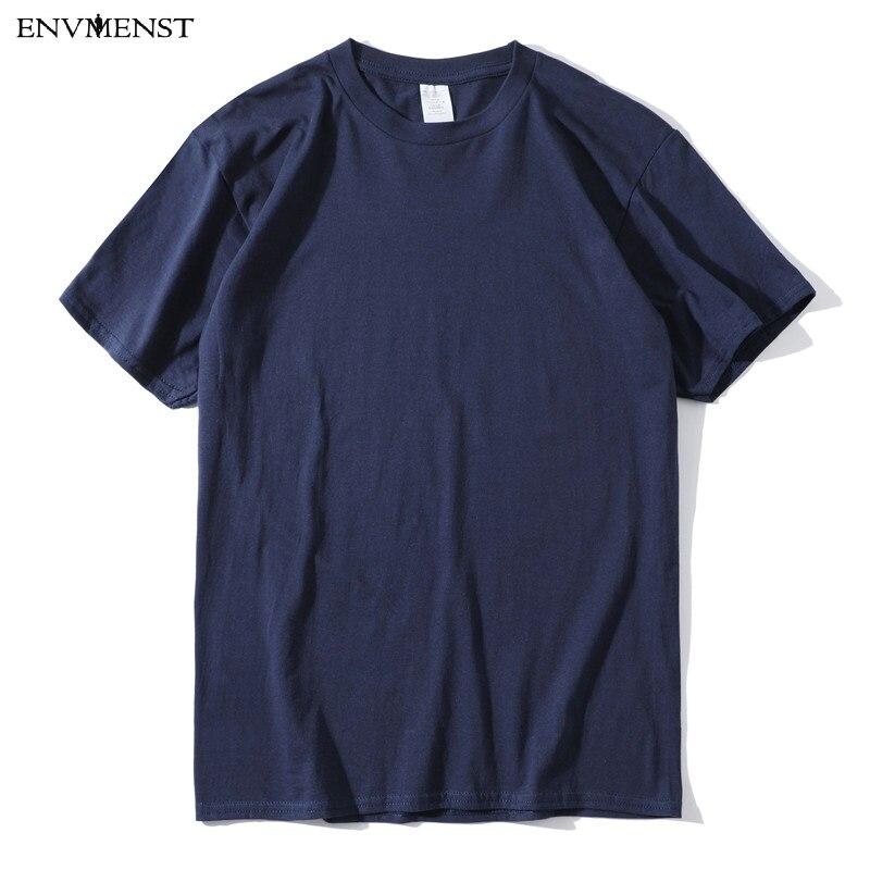 Camiseta de algodón de 100% de Envmenst, camisetas gruesas de 13 colores con cuello redondo, camiseta Unisex informal a juego, camiseta y Tops para hombre, ropa xs-3x
