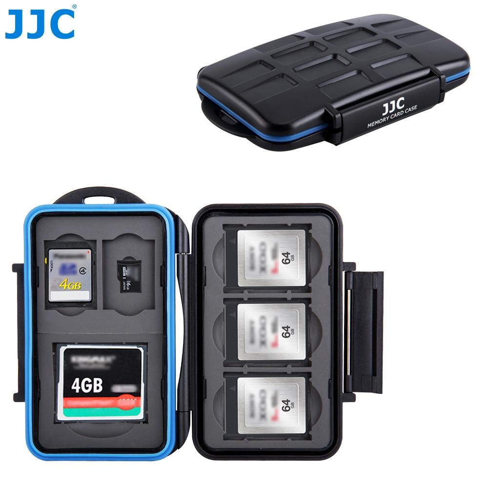 JJC Water-Resistant Camera Memory Card Case 1 CF, 2 SD, 3 XQD, 2 TF Cards Compact Tough Storage Box