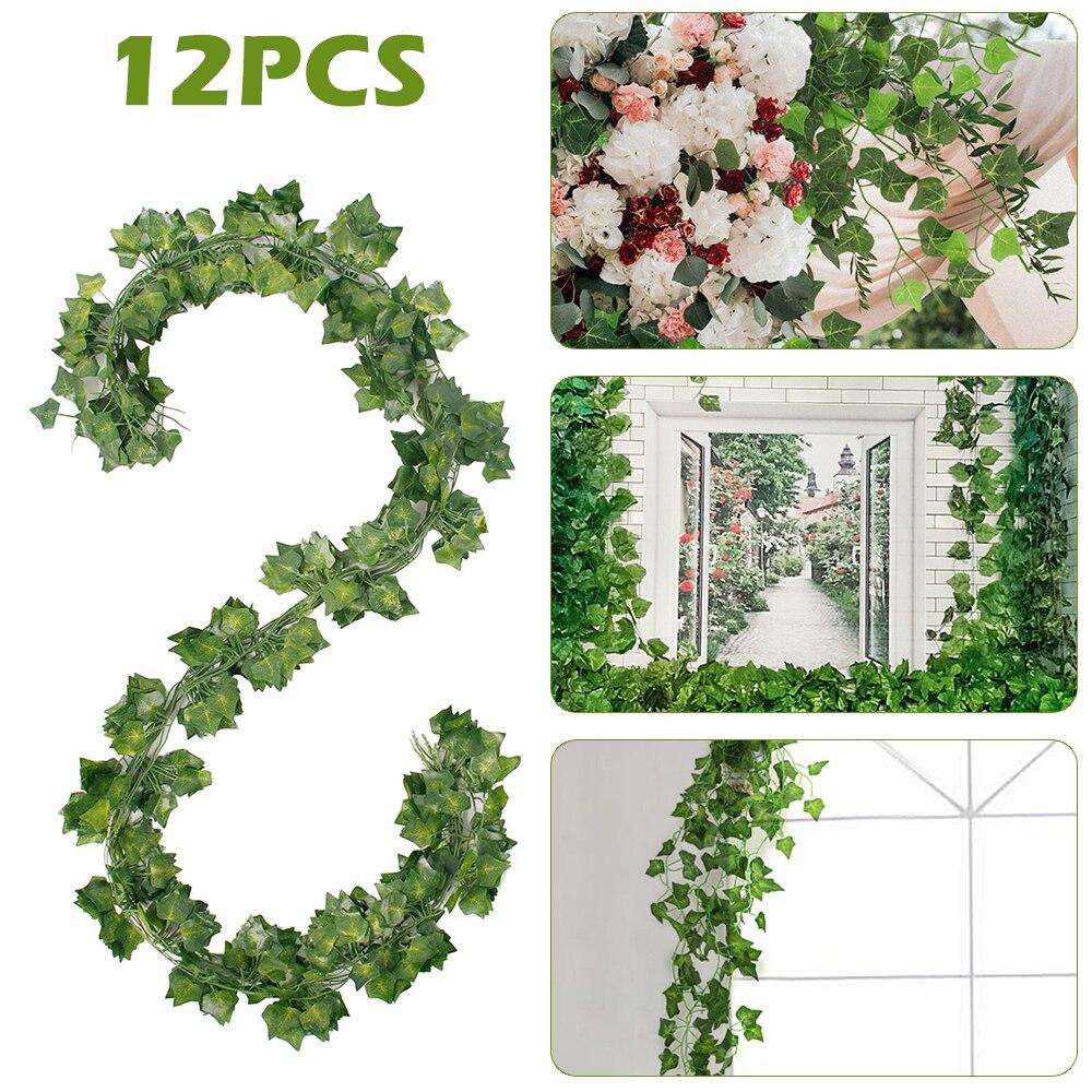 12Pcs Artificial Ivy Leaf Plants Green Leaves Vine Fake Foliage Home Decor Plastic Rattan Evergreen Party Hotel Wedding Jungle