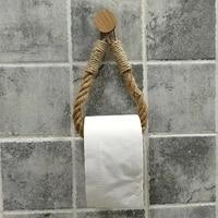 Porte-papier hygienique en chanvre  crochet rond  Vintage  serviette suspendue en corde  fournitures de decoration de salle de bain  hotel  maison