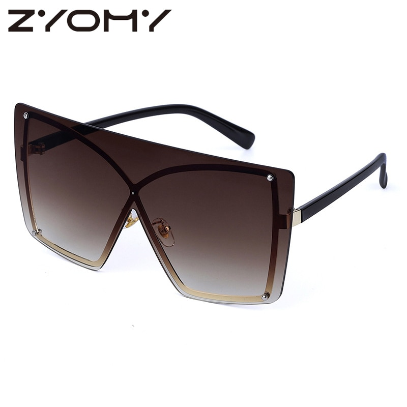 Q Women Sunglasses Square Big Frame Color Sunglasses Brand Designer One Piece Flat Top Sun Glasses G