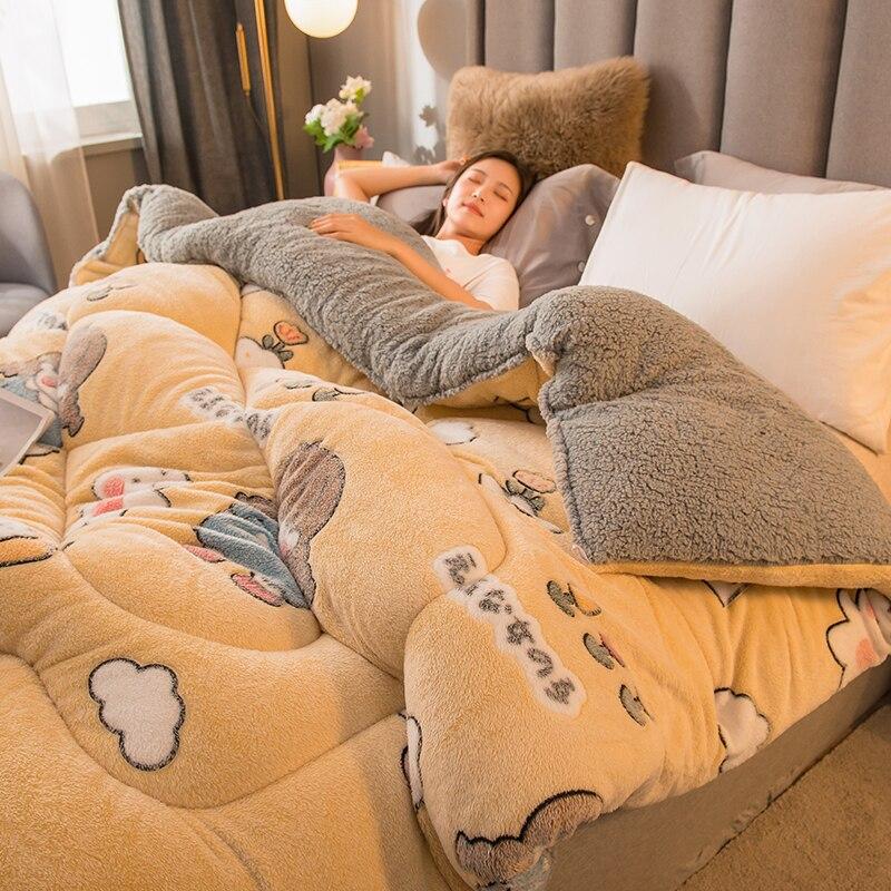 واحد مزدوج سرير ملكي لحاف الخريف والشتاء سميكة الدافئة الكشمير لحاف بطانية لحاف المنزل فندق