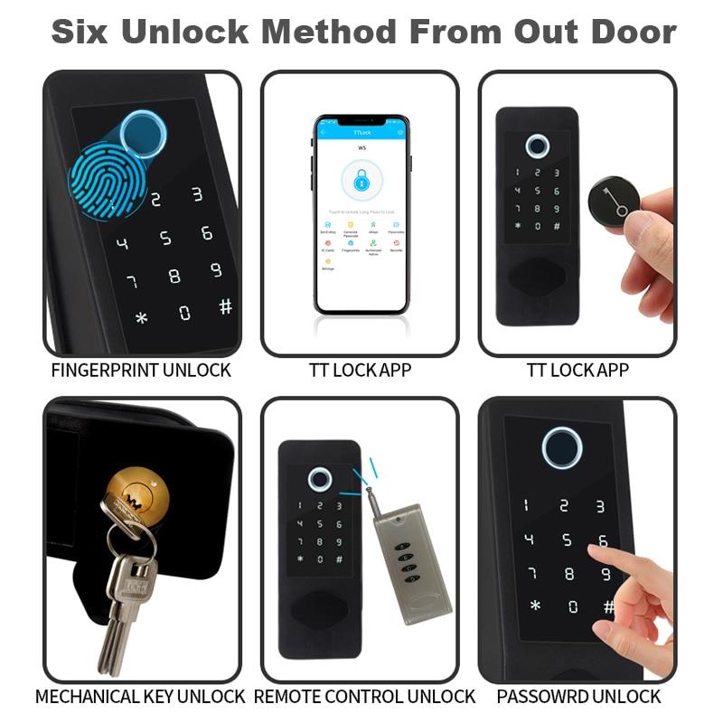 RAYKUBE Smart Door Lock Wifi Bluetooth Fingeprint Password 13.56mhz M1 Card Gateway Support Alexa Home Security Door Lock W6