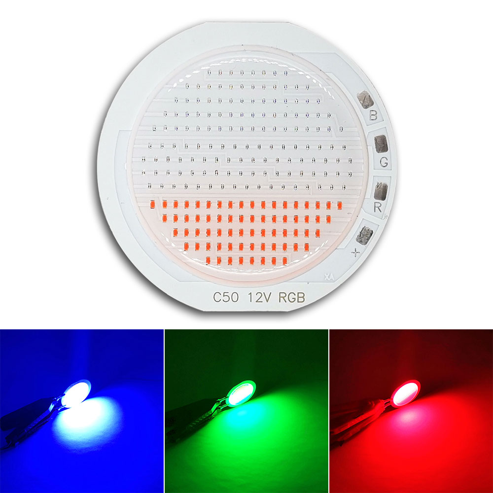 12v rvb puce LED pour voiture feux arrière lampe de frein décoration Signal éclairage ampoules 50mm rond COB DC12V rouge bleu vert blanc couleur