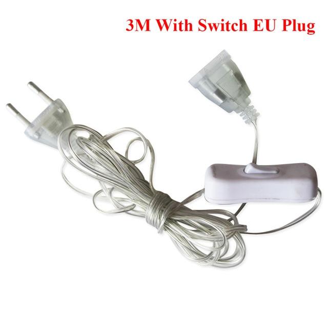 AliExpress - 3m Plug Extender Wire Extension Cable EU/US Plug for LED String Light Wedding Decoration Led Garland DIY Natal Christmas Lights