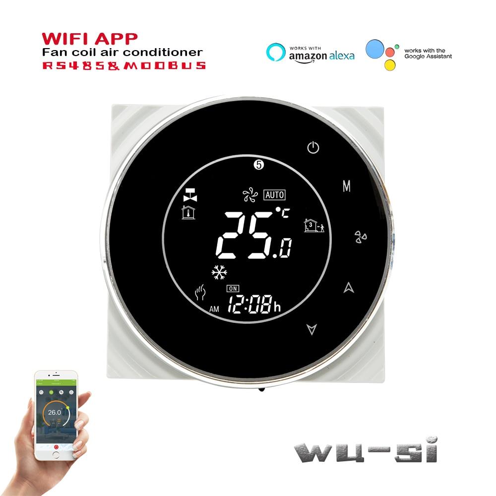 Termostato RS485 y Modbus Tuya para refrigeración/calefacción, thermostat-2pipe de 4 tuberías, programable, con wifi, compatible con google home