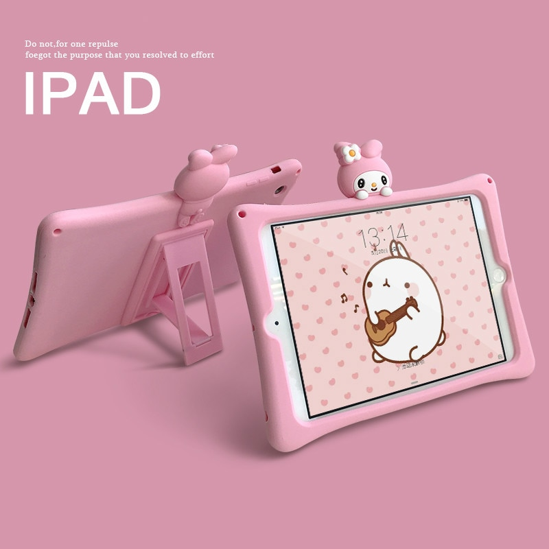 Mignon Rose Lapin Enfants pour IPad 9.7 2018 2017 Pro 9.7 10.5 11 2 3 IPad 2 3 4 Mini 1 2 3 4 5 Support En Silicone Couverture Funda