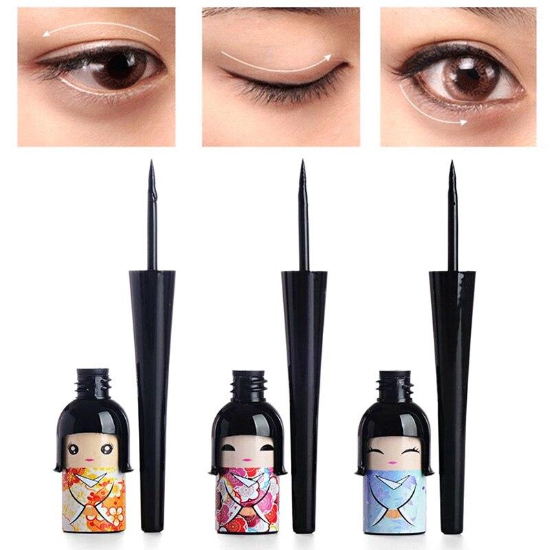 Delineador de ojos líquido negro, delineador de ojos líquido para muñeca de la suerte, lápiz antisudor y resistente al agua, delineador de ojos líquido, lápiz de maquillaje para ojos