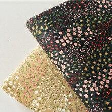 160 centímetros de Largura Em Toda a Floração Pequenas Flores Impresso 100% Algodão quilting almofada de Tecido Preto Marrom Floral Patchwork vestuário ela