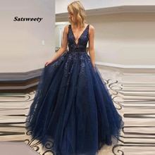 Bez rękawów granatowe długie sukienki balowe 2021 Vestidos De Festa linia seksowny koronkowy gorset suknia wieczorowa suknia wieczorowa плация