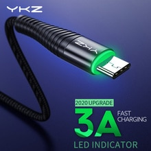 YKZ LED 3A USB Type C câble Charge rapide fil type-c pour Samsung Galaxy Xiaomi Huawei téléphone portable USB C USB-C câble chargeur cordon