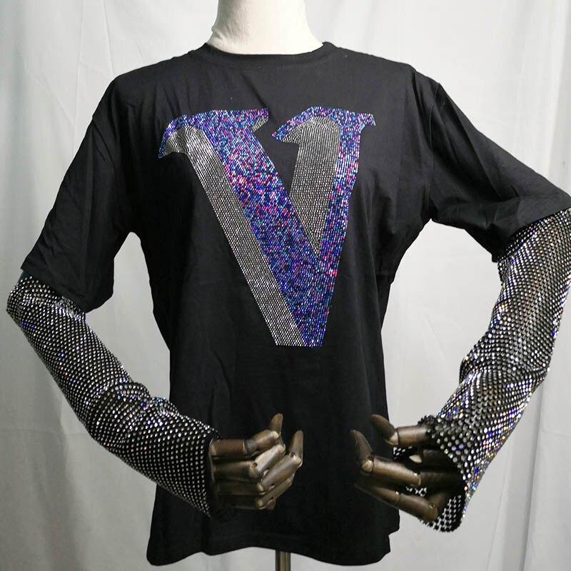 Camiseta holgada negra informal de algodón con estampado de letras en V para mujer de verano 2020 con cuentas de diamantes de imitación coloridos de gran tamaño