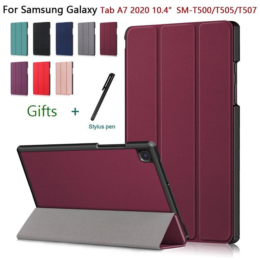 Чехол для планшета Samsung Galaxy Tab A7 10,4 дюйма SM-T500/T505/T507, складной защитный чехол тройного сложения, умный чехол из искусственной кожи с функцией с... чехол для samsung galaxy tab a7 2020 чехол для планшета из искусственной кожи для samsung galaxy tab a7 sm t500 t505 t507 10 4 дюймов