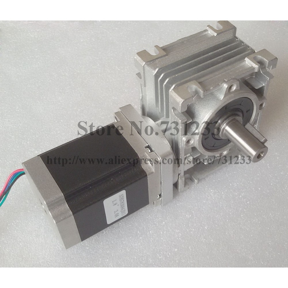 محرك متدرج لعلبة التروس الدودية NEMA 23 ، 5:1-80:1 ، CE ROHS ، طول المحرك 56 مللي متر ، 153oz-in ، Nema23