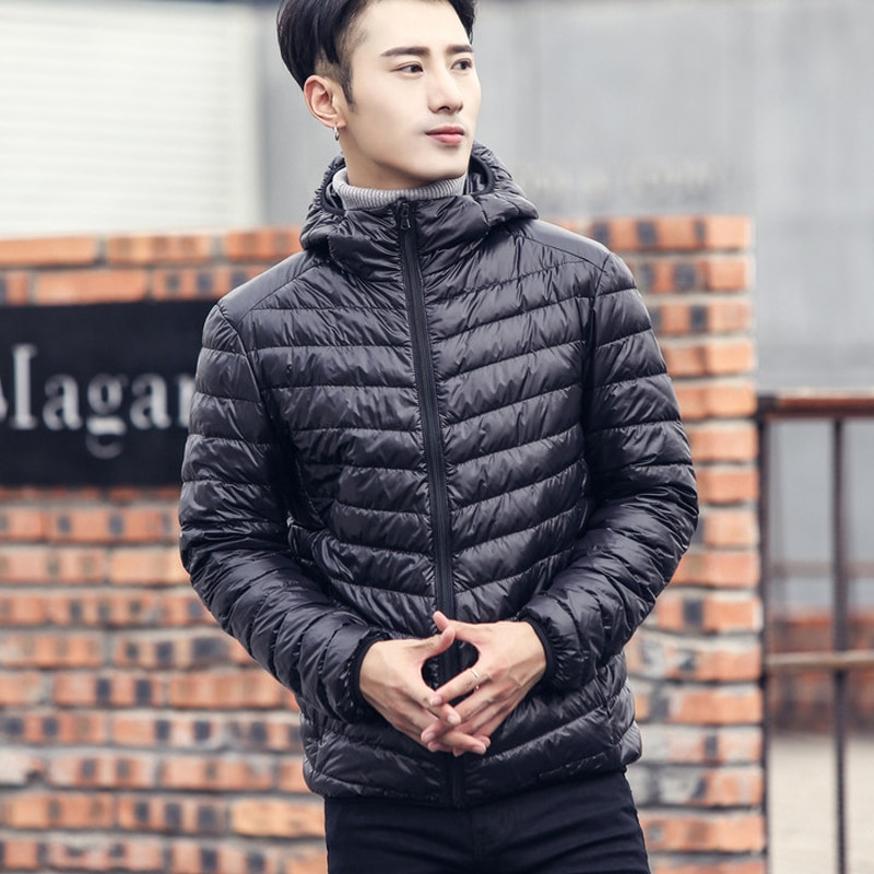 Новый бренд осень-зима светильник вниз куртка для мужчин, модная зимняя куртка с капюшоном и футболка с короткими обувь большого размера на ...