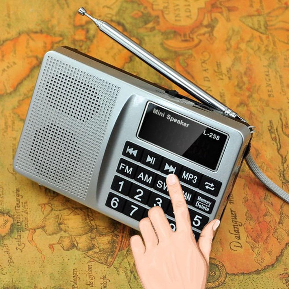 Fácil de usar bajo multibanda SW FM AM USB Insertar tarjeta altavoz Mini pantalla Digital portátil regalo MP3 botón grande radio