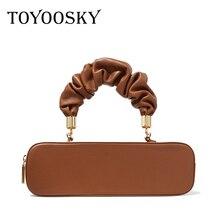 TOYOOSKY Vintage Womens Designer Handbag Rectangular Pleated Shoulder Bags 2020 New sac a main femme Leather Lady Crossbody Bag