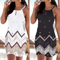 beach dress printing all match slim women sleeveless a line beachwear for party
