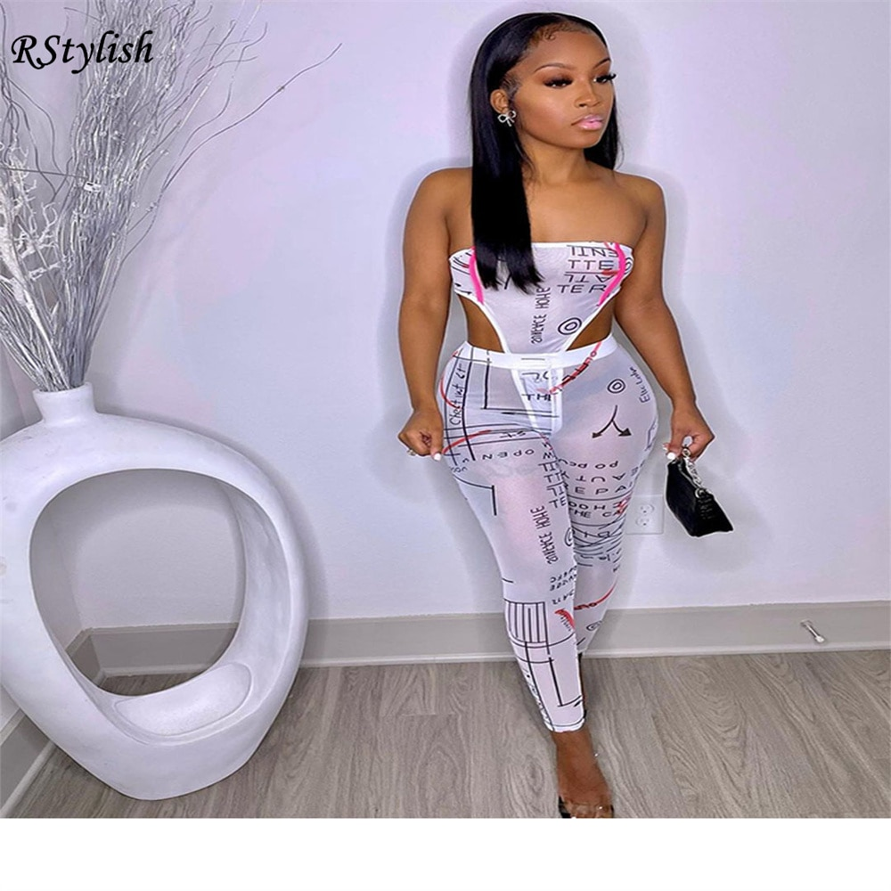 RStylish 2021 Summer Women Perspective Mesh Strapless Bodysuits+Leggings Sexy Night Club Two Piece Set Bodycon Street Pants Suit