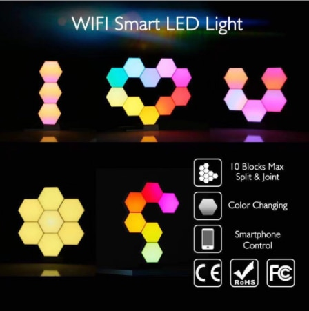 Wonderlife Lifesmart Cololight Pro Smart Geometry  DIY Lamp WiFi Work with Google Assistant Alexa Cololight APP Smart - 23Set enlarge