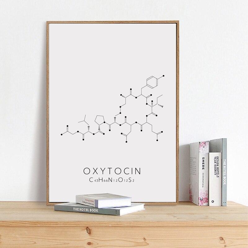 Lienzo impresiones pinturas Oxytocin Dopamine arte de pared química póster de ciencia cuadro nórdico Modular para dormitorio decoración moderna del hogar