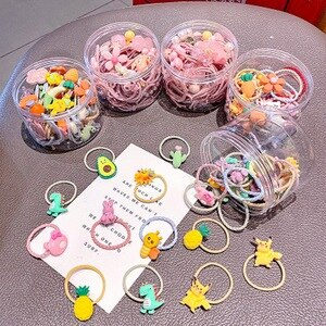 20/30pcs/pack girl cute Cartoon hair  bands baby bunny ears hair rope gum fruit crunchy hair tie kawaii scrunchies accessories