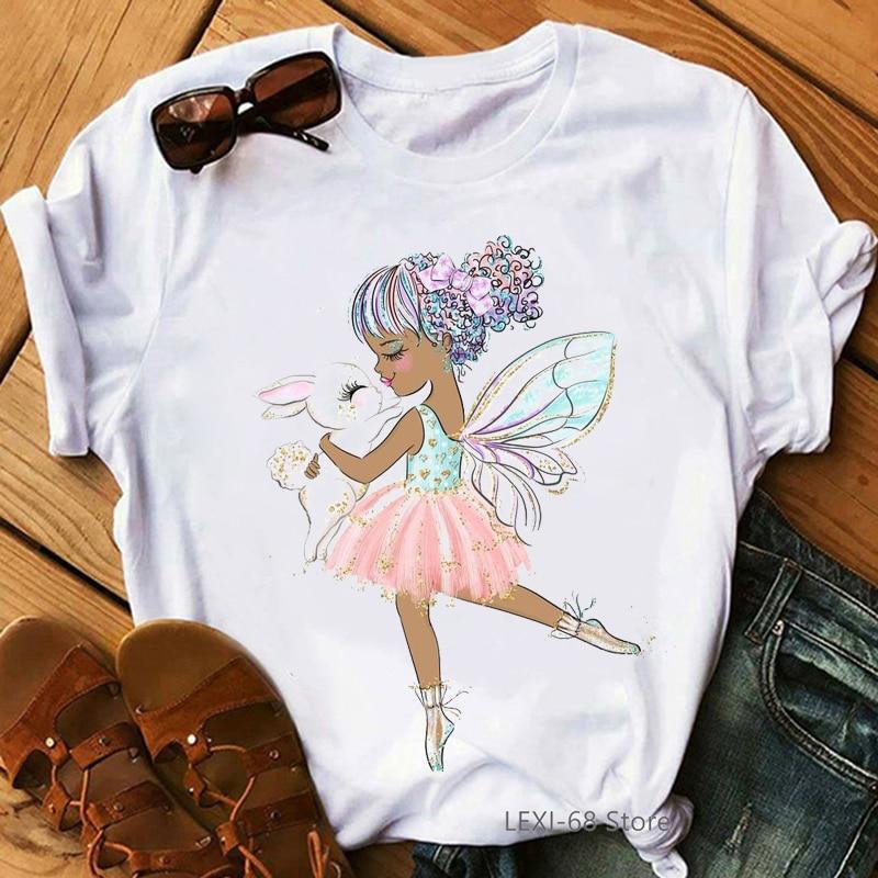 Rosa Ballett Tänzerin Mit Kaninchen Druck T-shirt Frauen Kawaii Engel T Hemd Femme Blume Weiß Weibliche T-Shirt Harajuku Hemd Tops