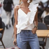 new women sexy v neck ruffle vest shirts 2021 summer backless strap casual tops elegant sleeveless office ladies sexy vest