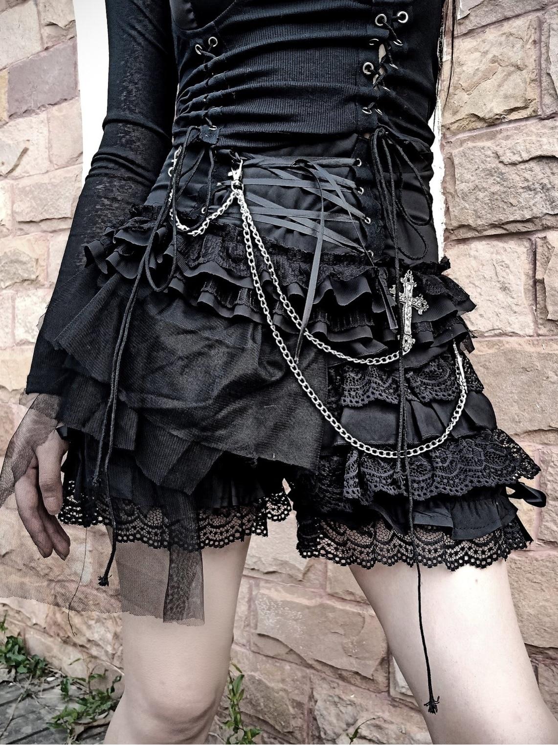 تنورة صغيرة من الدانتيل ، لوليتا روك بانك ، تصميم أصلي ، متعدد الطبقات ، شريط داكن ، شبكة سوداء قوطية يابانية ، صيف وشتاء