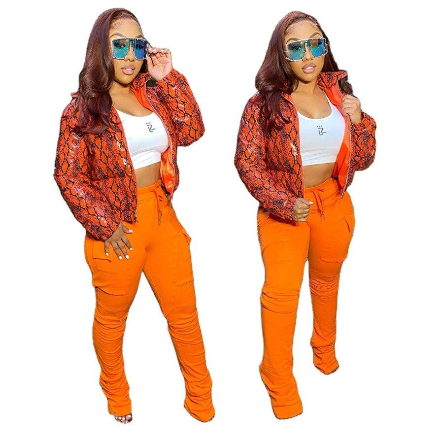 Winter Women's Jacket Coat Parkas Snake Print Zip Up Outwear Streetwear Winter Jacket Women camouflage print zip up jacket
