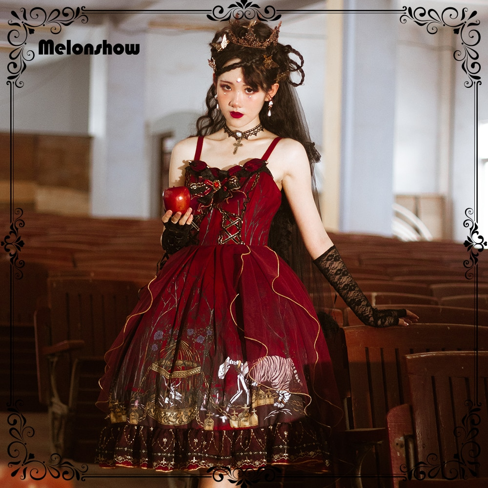 Melonshow Gothic Lolita Dress Red Victorian Dresses Plus Size Sweet Lolita JSK Women Goth Lolita Skirt Girls Kawaii Clothing
