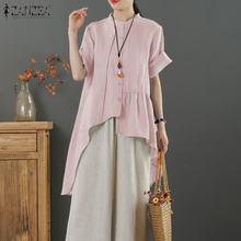 ZANZEA mode été chemises 2021 femmes Blouse décontracté solide à manches courtes plissé irrégualr Blusas coton lin hauts tunique Robe
